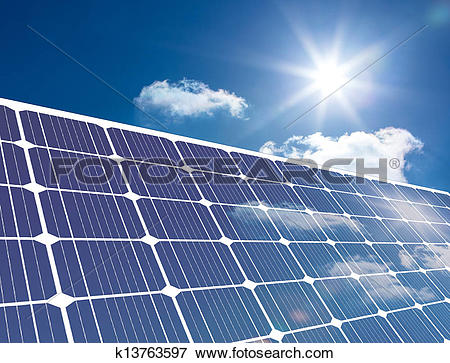 Stock Illustration of Solar panel reflecting sunlight k13763597.
