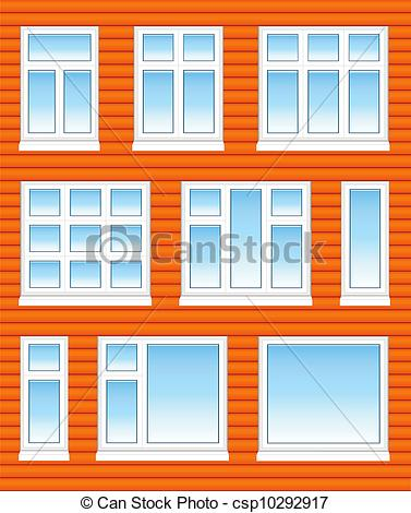 Vector Clip Art of Plastic windows in color with reflection on.