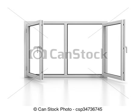 Drawing of open plastic window isolated with reflection.