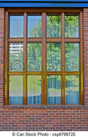 Stock Images of Wood bordered window reflection.