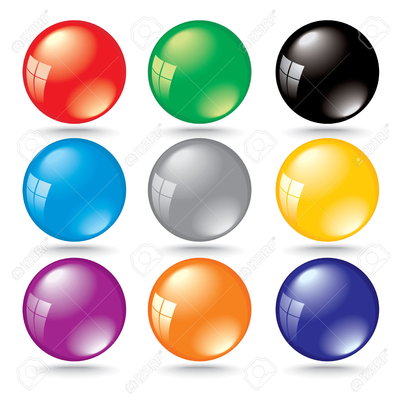 Shiny 3d Color Bubbles With Window Reflection Royalty Free.