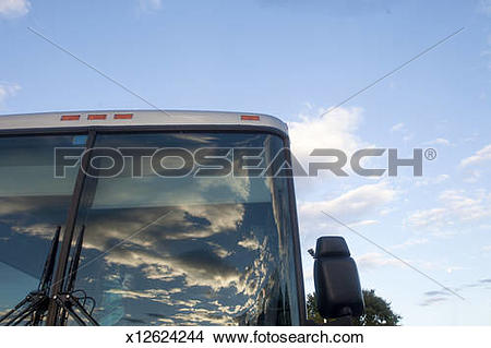 Stock Photo of Bus window reflection x12624244.