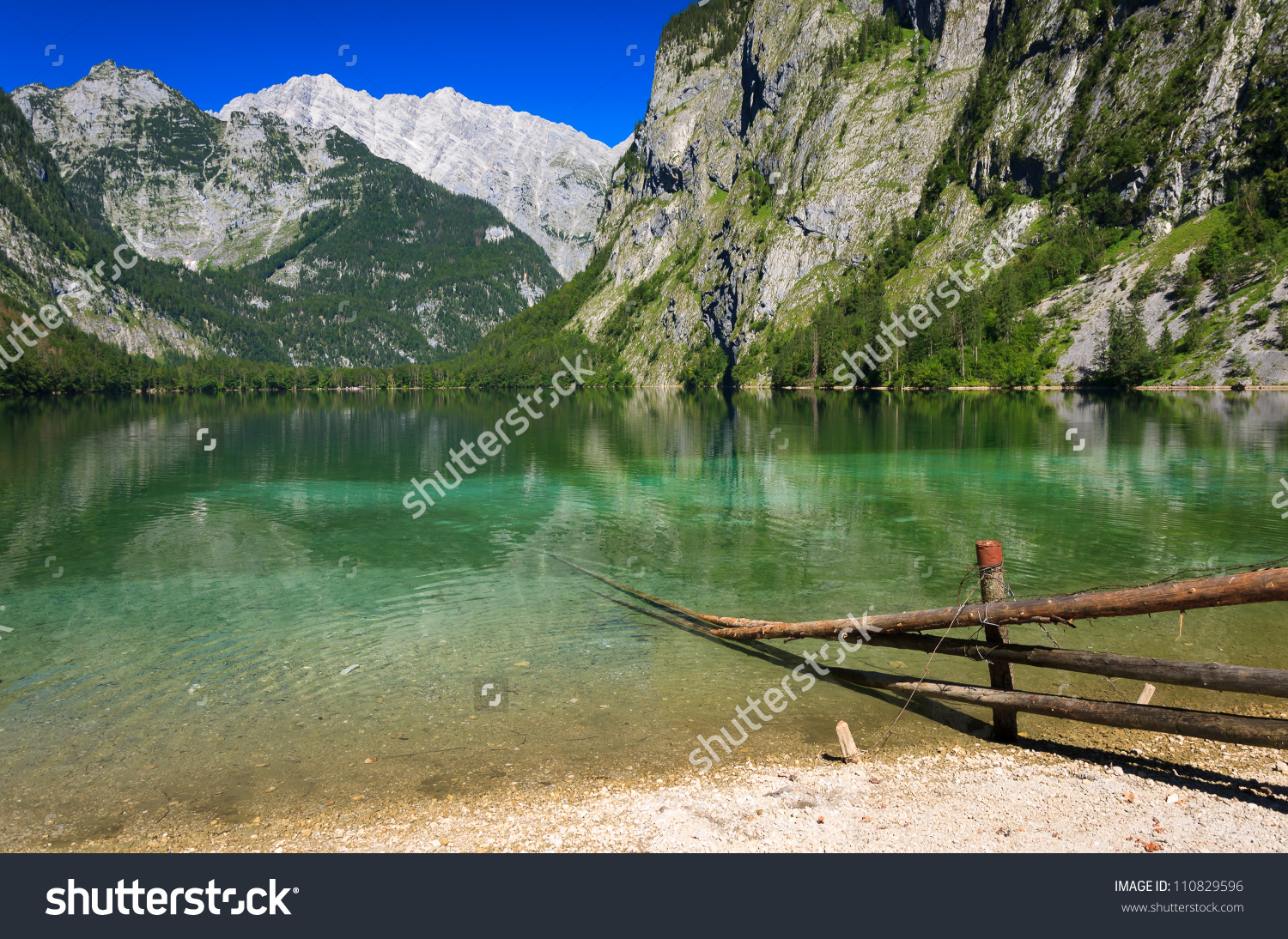 Green Water Of Obersee Mountain Lake, Berchtesgaden National Park.