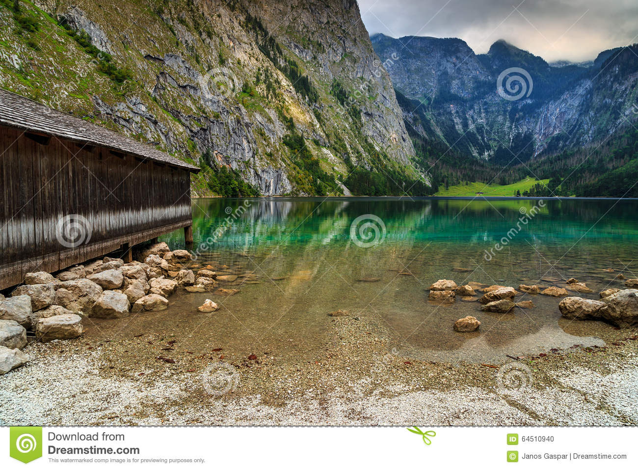 Boat Dock On Obersee Alpine Lake,Berchtesgaden,Bavaria,Germany.