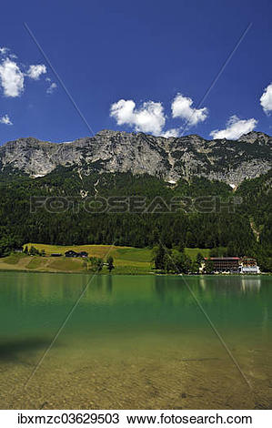 """Stock Photo of """"Reiter Alps, the shimmering green Lake Hintersee."""