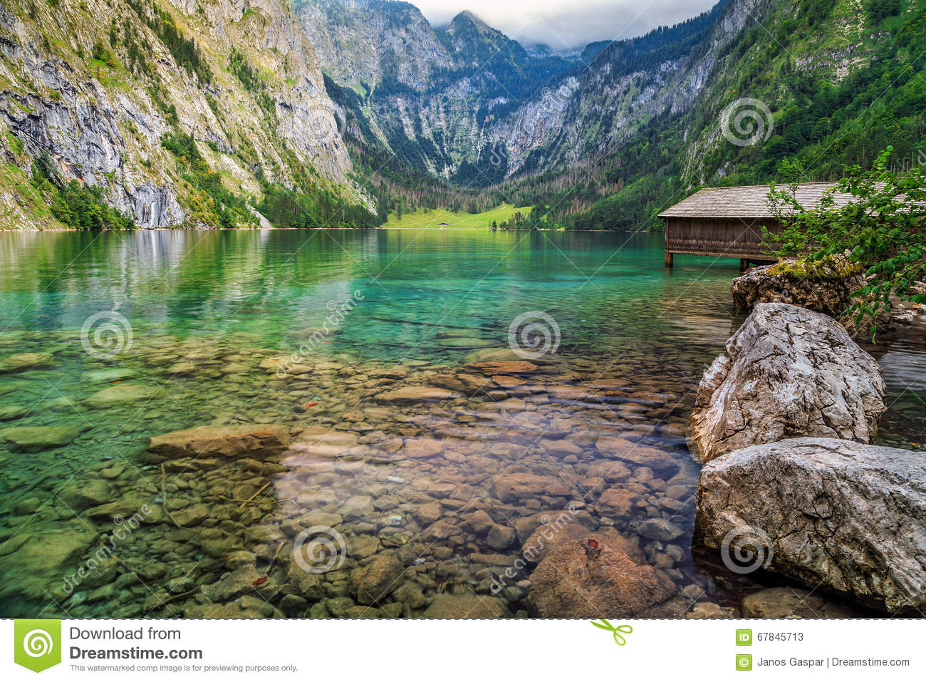 Boathouse At Obersee, Berchtesgaden, Germany Stock Photo.