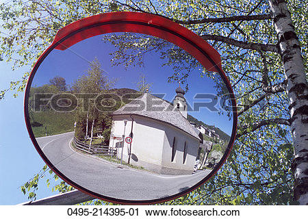 Stock Photography of Italy, Reflection in Road Mirror, Road.