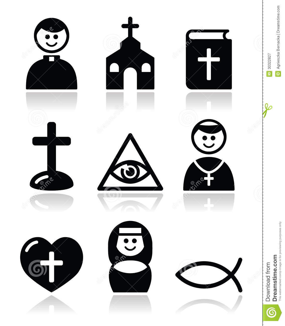 Religion, Catholic Church Icons Set Royalty Free Stock Photography.