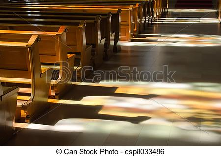 Stock Image of reflection of the stained glass windows inside a.