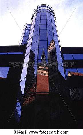 Stock Photography of Reflection of a Church in Glass Building.