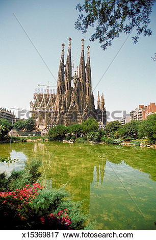 Picture of Reflection of a church in water, Sagrada Familia.