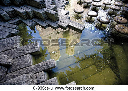 Stock Images of Germany, Bavaria, Munich, water reflection of.