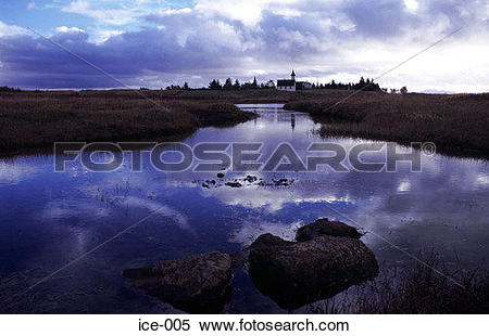 Stock Image of Reflection of Church and Country Pingvellir Iceland.