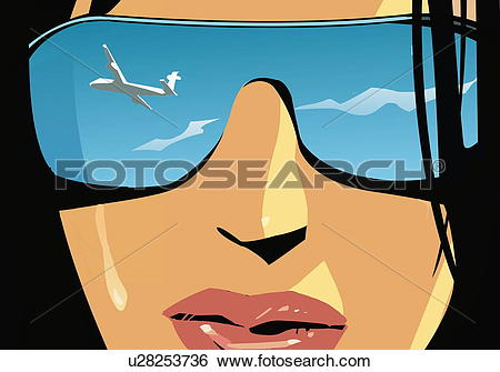 Stock Illustration of Closeup of woman's face with airplane.