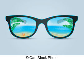 Summer sunglasses with beach reflection Vector Clip Art EPS Images.