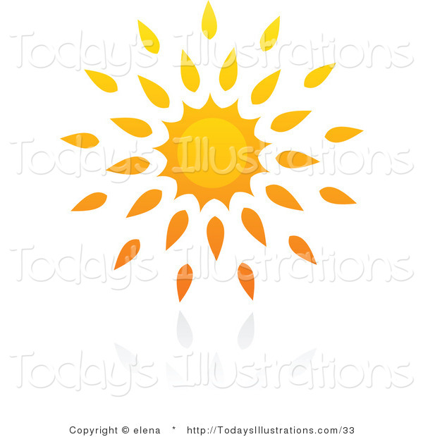 Clipart of a Hot Yellow and Orange Summer Sun and Reflection by.