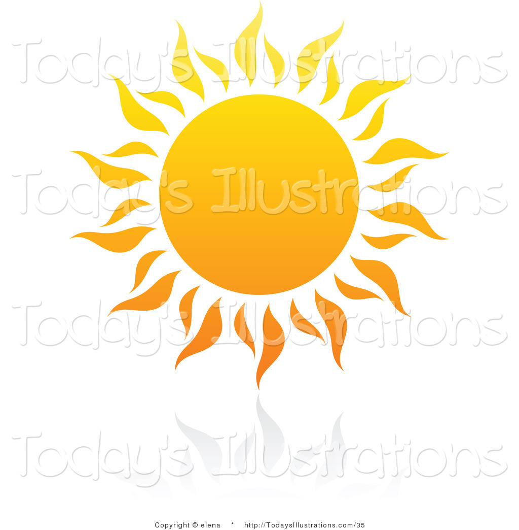 Clipart of a Hot Summer Sun with Rays and Reflection by elena.
