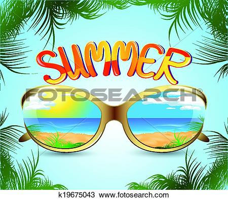 Clipart of sunglasses with reflection of the summer k19675043.