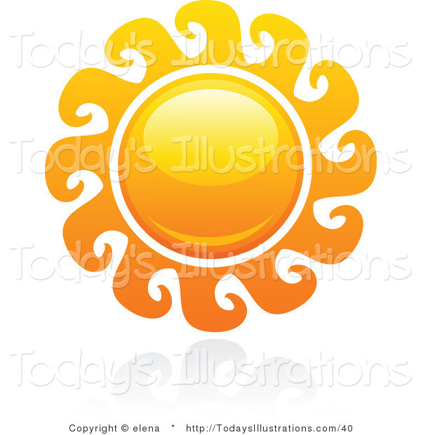 Clipart of a Hot Swirling Summer Sun and Reflection by elena.