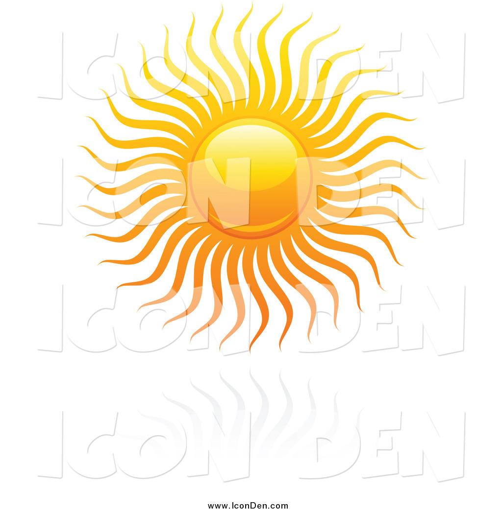 Clip Art of a Hot Summer Sun over a Reflection by elena.