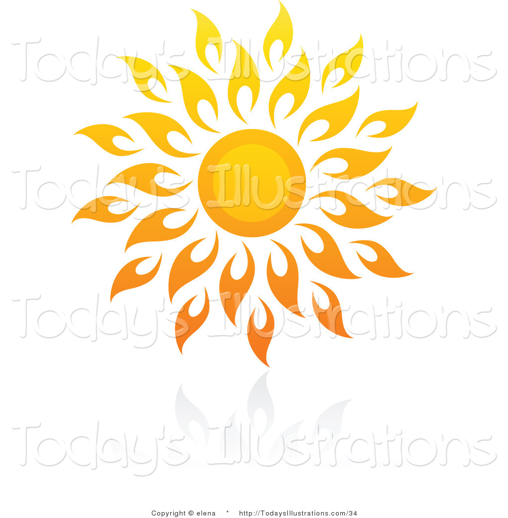 Clipart of a Hot Summer Sun with Flame.