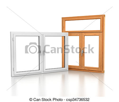 Drawings of wooden and plastic windows isolated on white with.