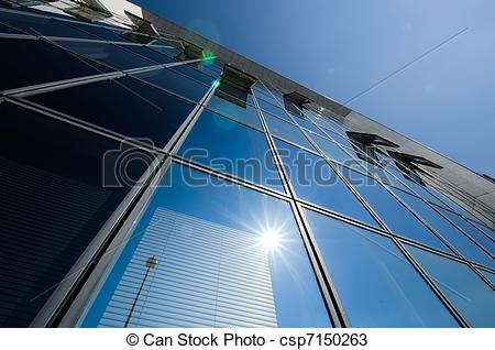 Drawings of Reflection from buildings glass windows csp7150263.