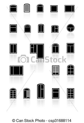 Vector Clip Art of set black windows with reflection.