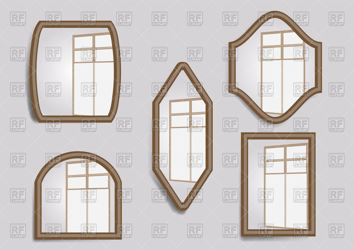 Set of mirrors with window reflection Vector Image #130822.