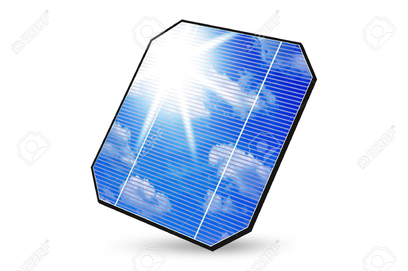 Solar Panel With Reflection Of Sky, Clouds And Sun Isolated.
