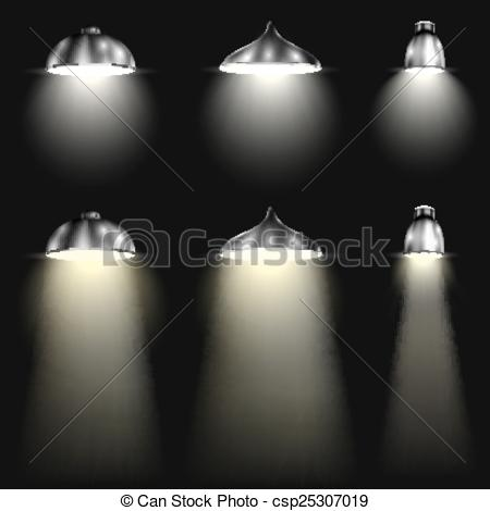 Vector Clip Art of Three Types of Spotlights With Beams. Vector.