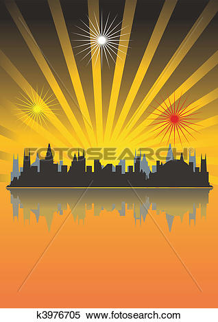 Clipart of Megacity in beams of the coming sun, sunset k3976705.