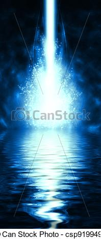 Stock Illustration of cyber beam with a reflection in the water.
