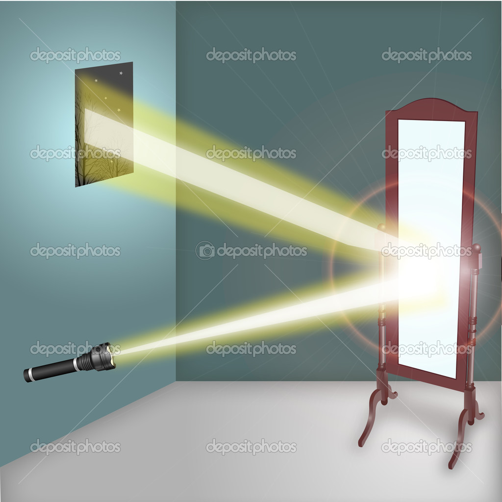 Reflection of flashlight in the mirror — Stock Photo.