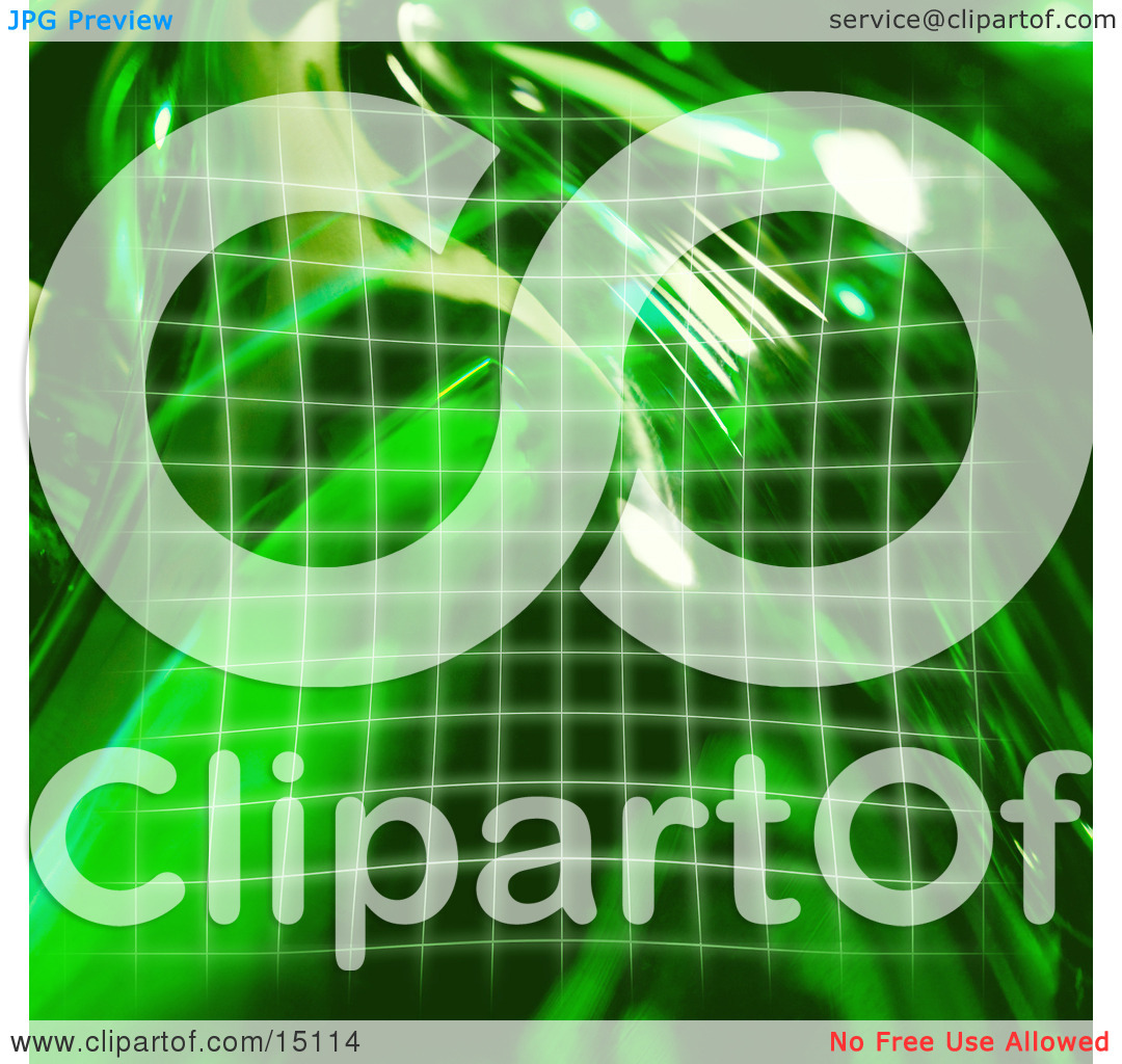 Square Green Grid And Reflections Of Light Clipart Illustration by.