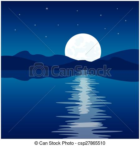 Vector Clip Art of Reflection of the moon in water.