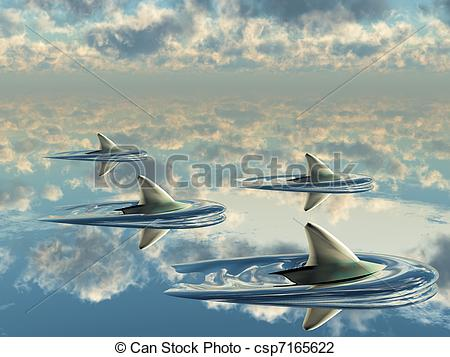 Clip Art of Reflections of shark fins and clouds on water surfac.