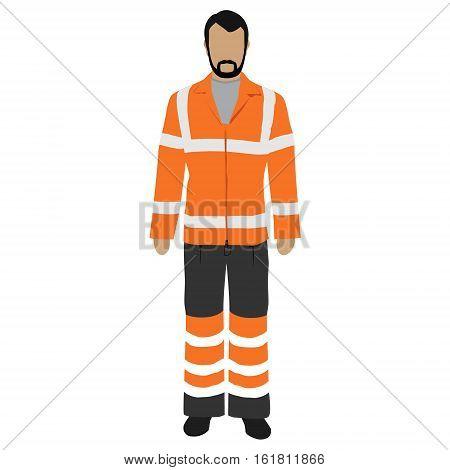 Vector illustration worker in orange safety jacket. Worker safety.
