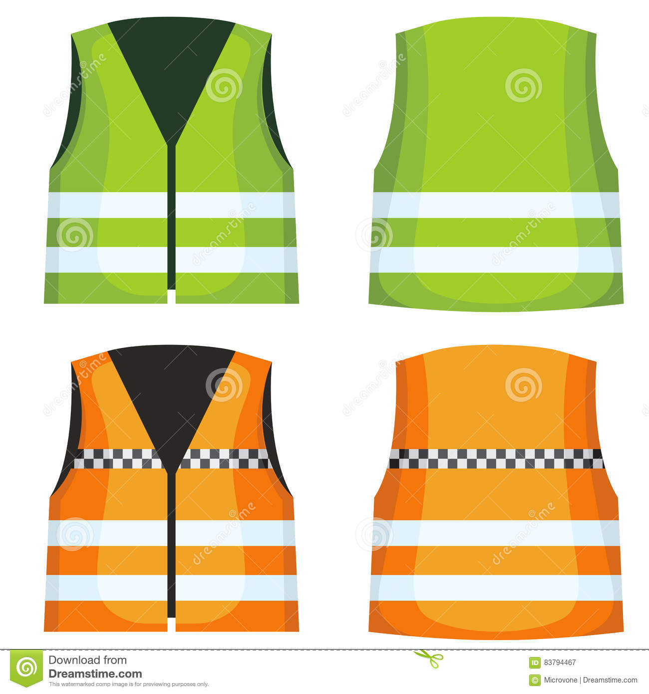 Safety Road Vest, Waistcoat With Reflective Stripes Vector Set.