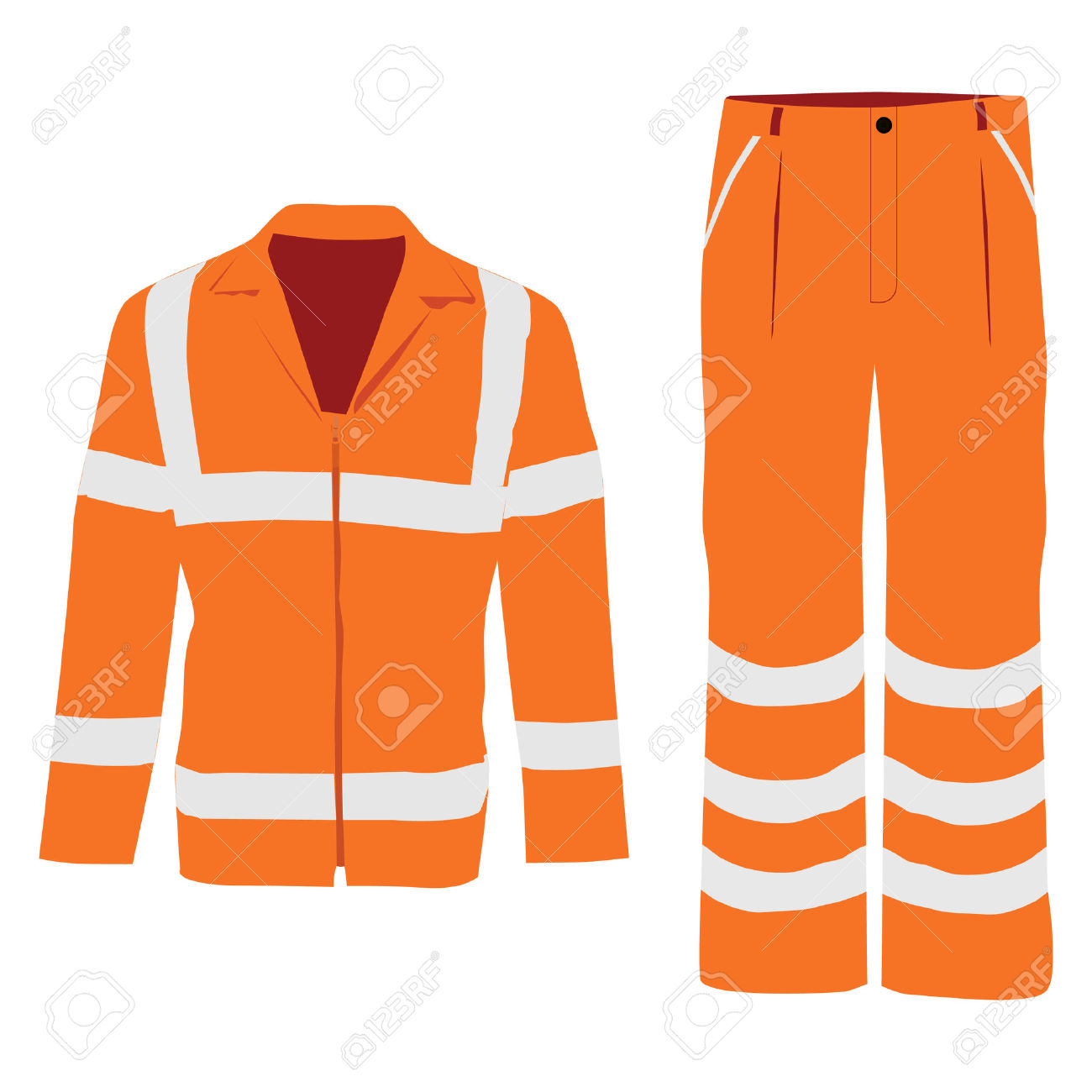 Vector Illustration Of Orange Worker Jacket And Pants. Protective.