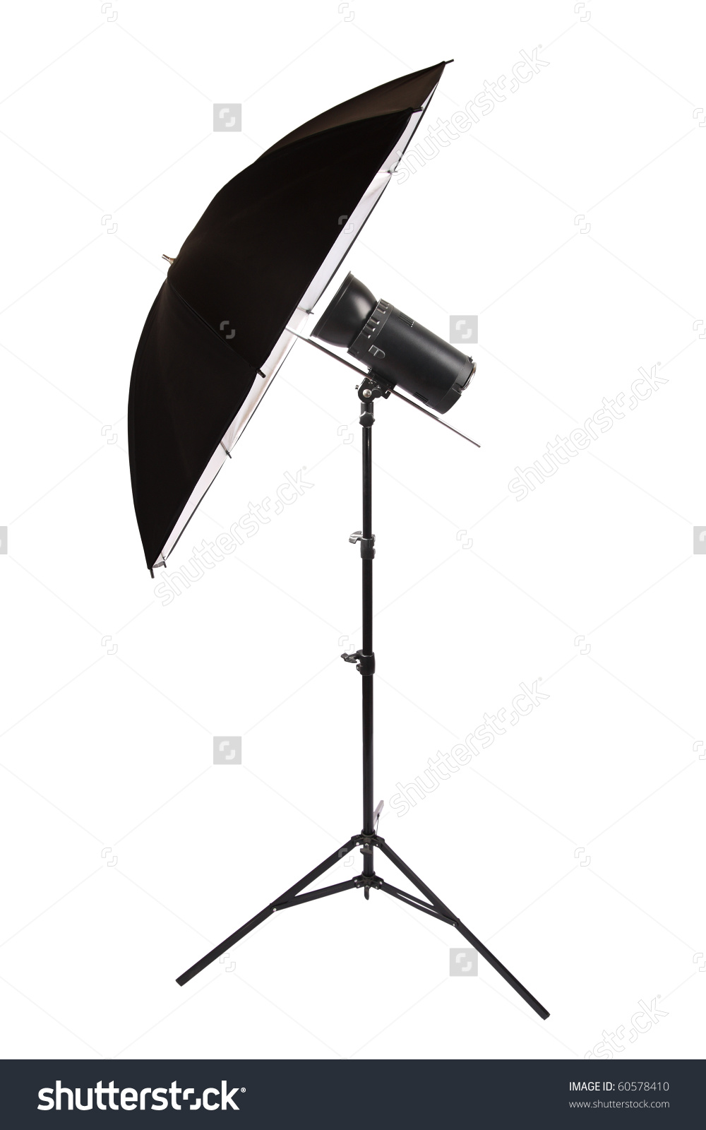 Studio Flash Isolated On White,Reflector Umbrella Stock Photo.