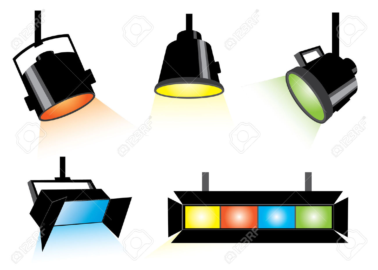 Five Colored Spotlights Royalty Free Cliparts, Vectors, And Stock.
