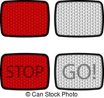 Vector Clip Art of vector safety reflectors red white orange.