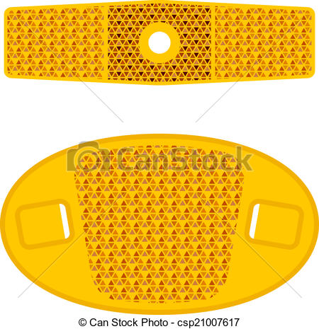Vector Clip Art of vector bicycle wheel orange reflectors.