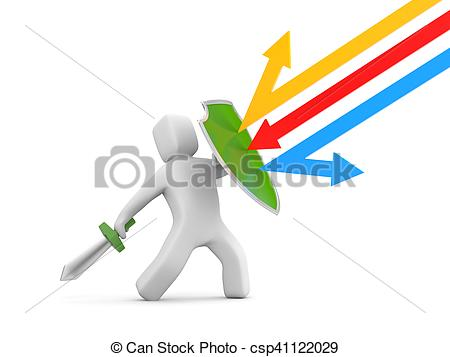 Clip Art of Defender with shield and sword.