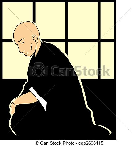 Clipart Vector of Shinto Priest.