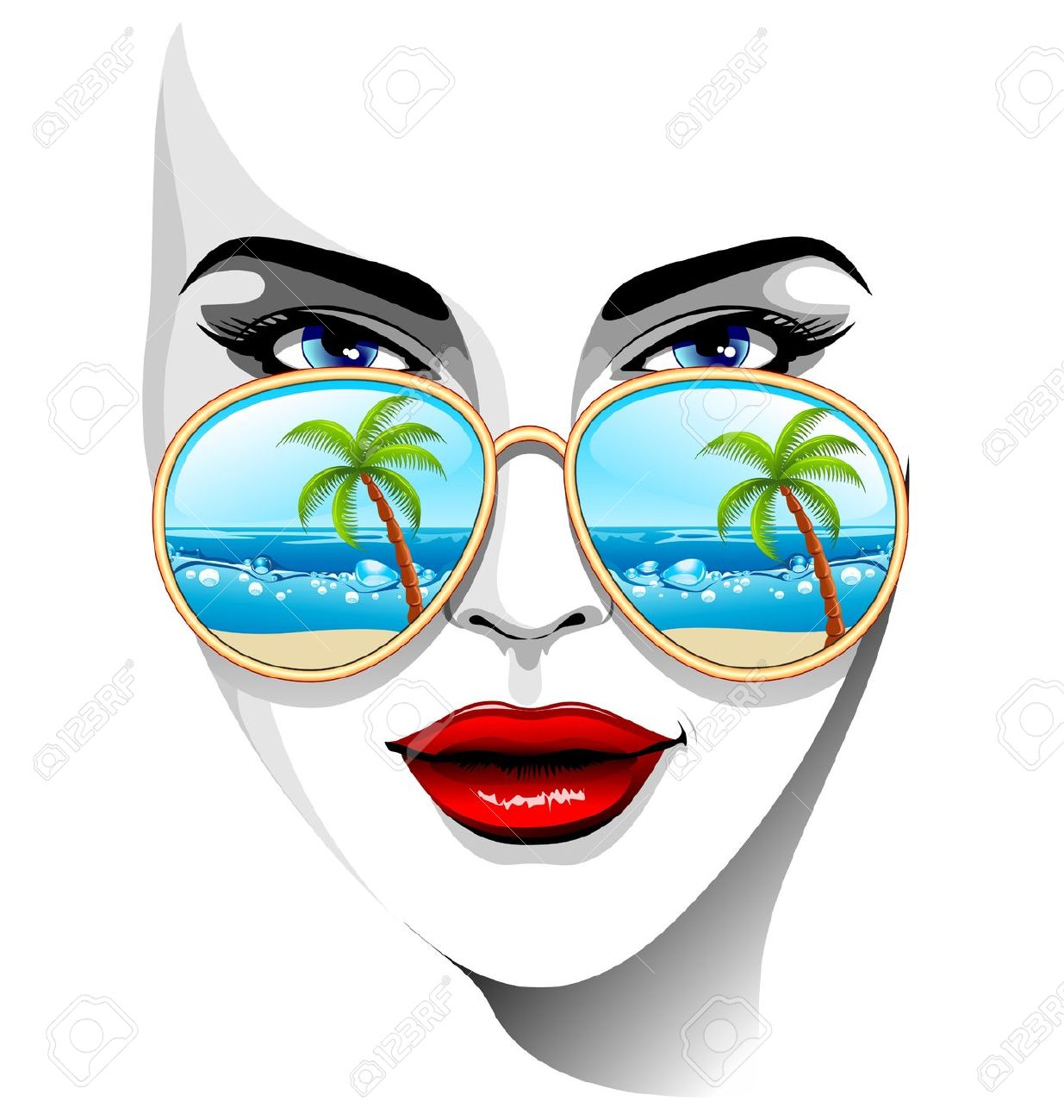 Girl Portrait With Tropical Beach Reflexion On Sunglasses Royalty.