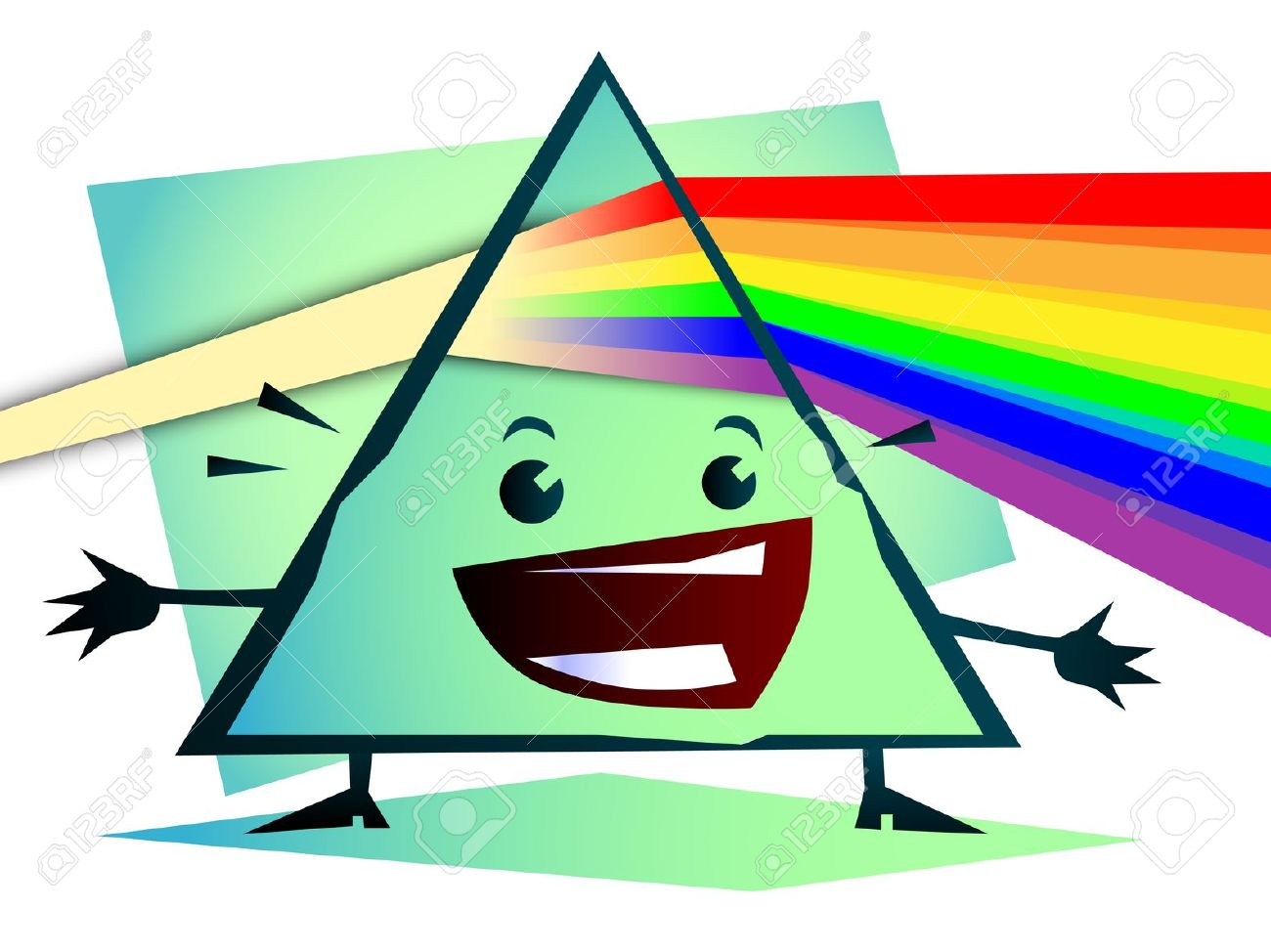 Cartoon Newton Prism With Rainbow Royalty Free Cliparts, Vectors.