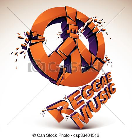 Vector Clip Art of Orange 3d vector peace sign created from.