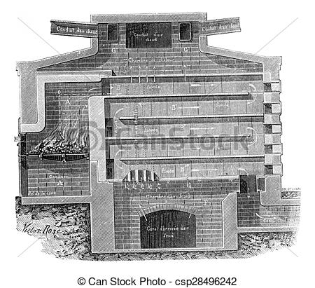 Stock Photo of Furnace refractory bricks vertical section, vintage.